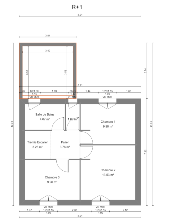 Maison 97m² + Terrain 275m² à Bouguenais - Plan du R+1