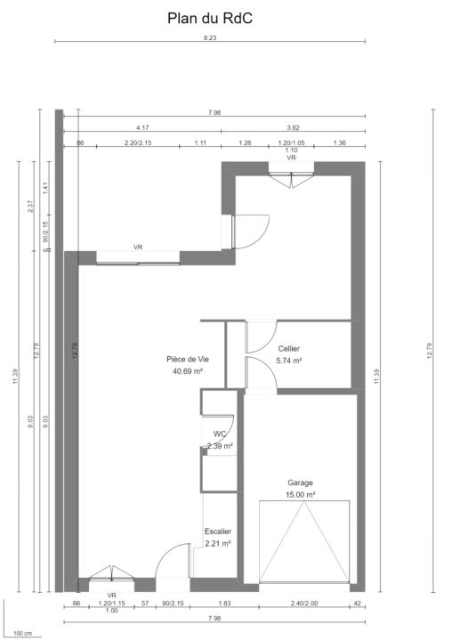Maison 103m² + Terrain 200m² à Bouguenais - Plan du RdC