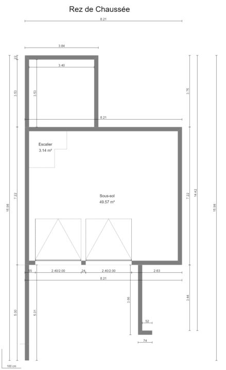 Maison 97m² + Terrain 275m² à Bouguenais - Plan du REZ de CHAUSSÉE