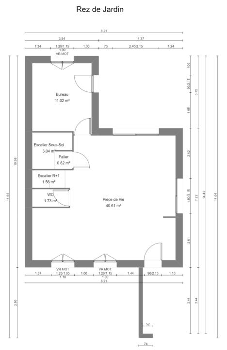 Maison 97m² + Terrain 275m² à Bouguenais - Plan du REZ de JARDIN