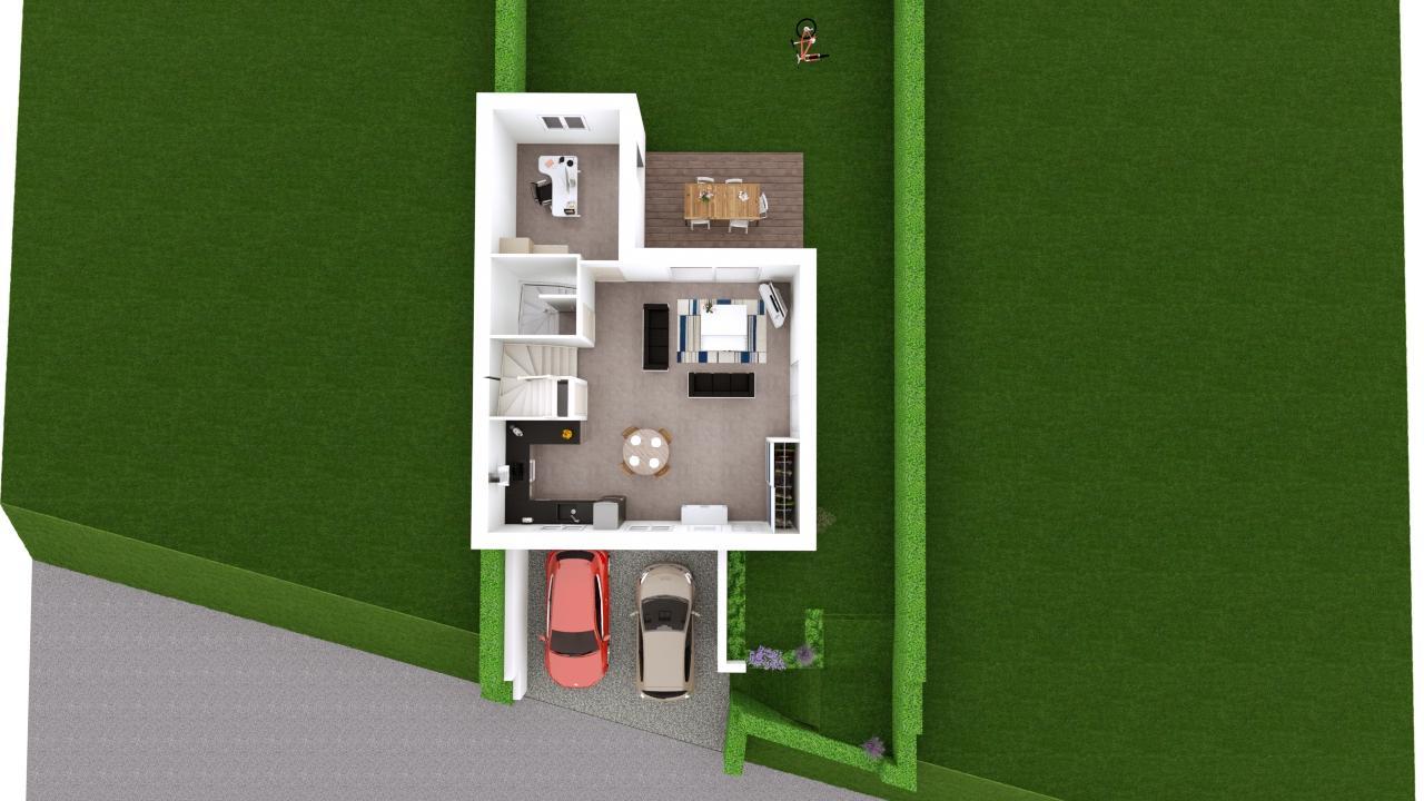 Maison 97m² + Terrain 275m² à Bouguenais - Proposition d'Aménagement du REZ de JARDIN