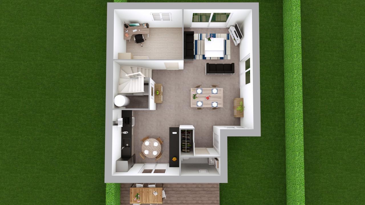 Maison 103m² + Terrain 275m² à Bouguenais - Aménagement du Rez de Jardin