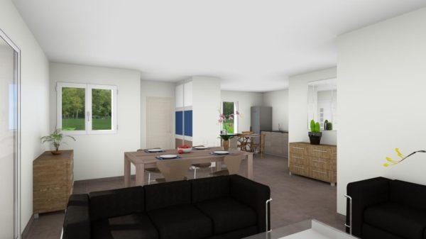 Maison 103m² + Terrain 275m² à Bouguenais - Perspective Intérieure du Séjour