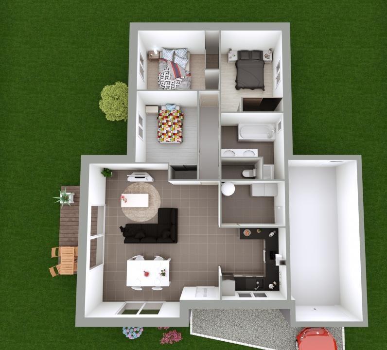 Maison 89m² + Terrain 396m² à Petit-Mars - Proposition d'Aménagement
