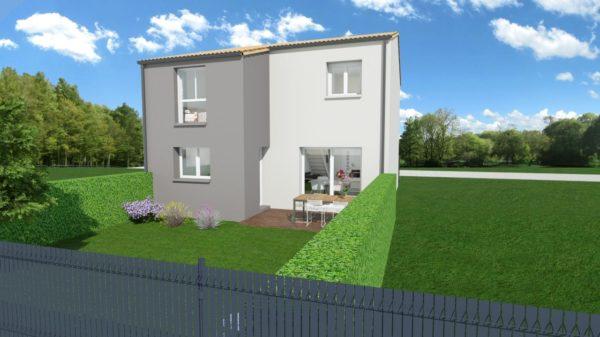 Maison 112m² + Terrain 200m² à Bouguenais - Perspective Arrière
