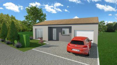 Maison 89m² + Terrain 396m² à Petit-Mars - Perspective Avant