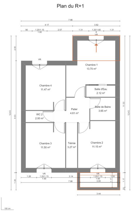 Maison 112m² + Terrain 200m² à Bouguenais - Plan du R+1