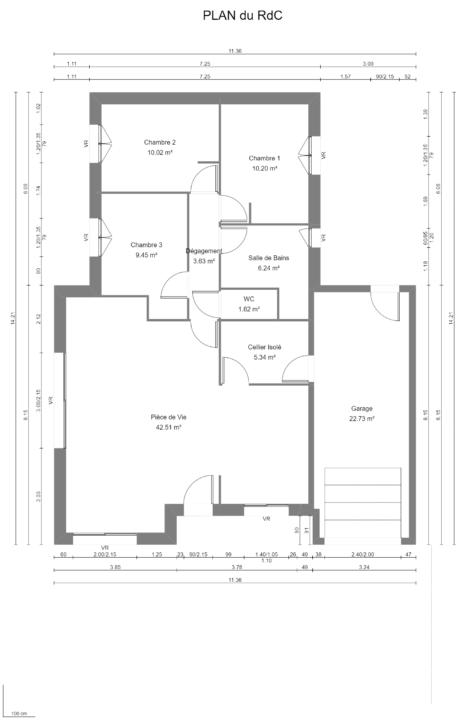 Maison 89m² + Terrain 396m² à Petit-Mars - Plan du RdC
