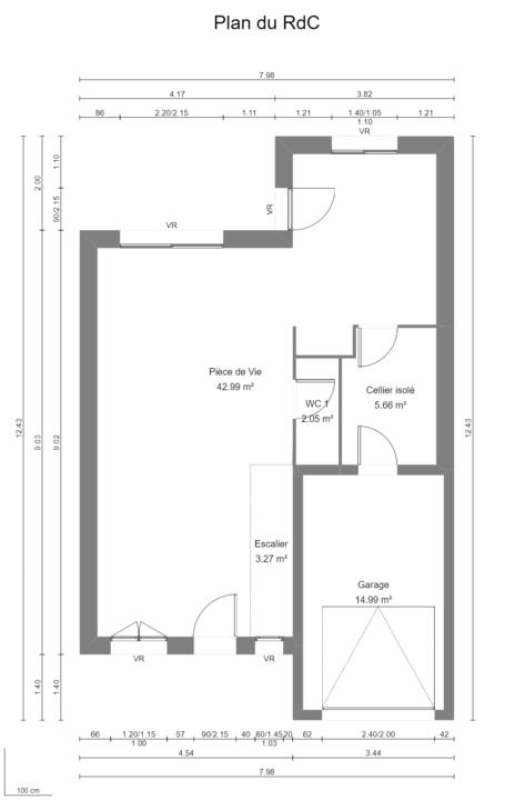 Maison 112m² + Terrain 200m² à Bouguenais - Plan du RdC