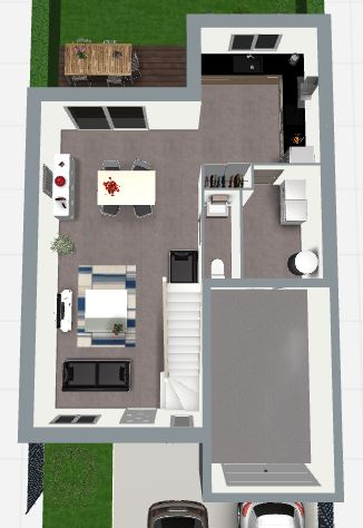 Maison 112m² + Terrain 200m² à Bouguenais - Proposition d'Aménagement du RdC