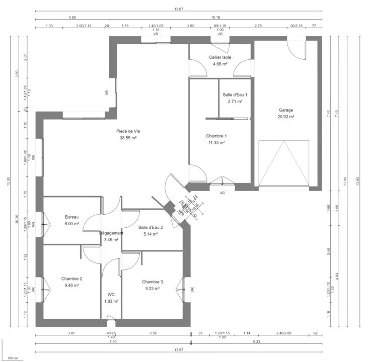 Modèle de Maison JADE, 4 pièces de 92m² - Plan du RdC