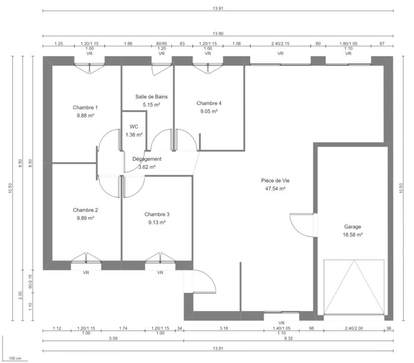 Modèle de Maison MALACHITE, 5 pièces de 95m² - Plan du RdC