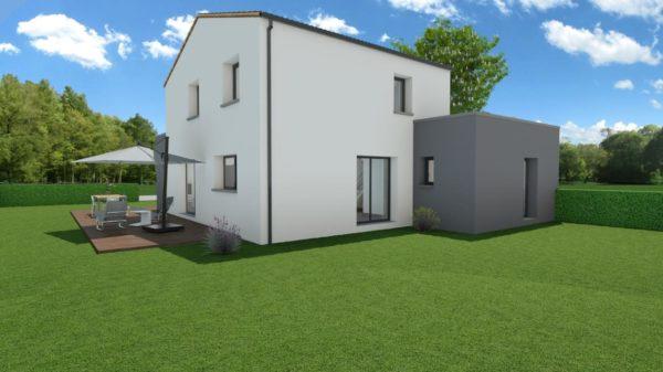 Modèle de Maison QUARTZ, 6 pièces de 136m² - Perspective Arrière en Tuile