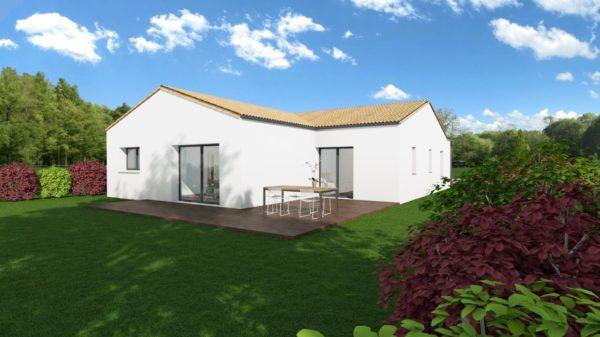 Modèle de Maison PERLE, 4 pièces de 112m² - Perspective Arrière en Tuile