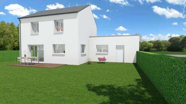 Modèle de Maison PORPHYRE, 5 pièces de 106m² - Perspective Arrière en Ardoise
