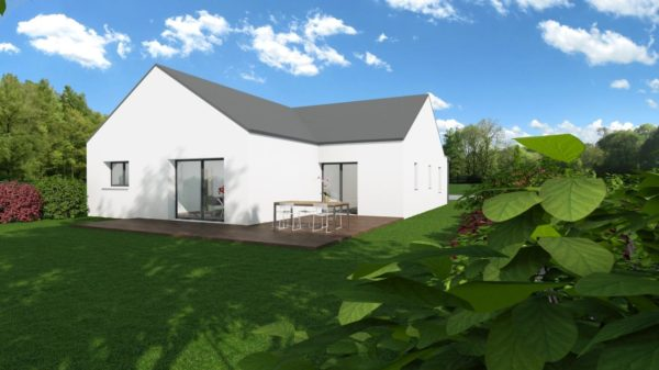 Modèle de Maison PERLE, 4 pièces de 112m² - Perspective Arrière en Ardoise