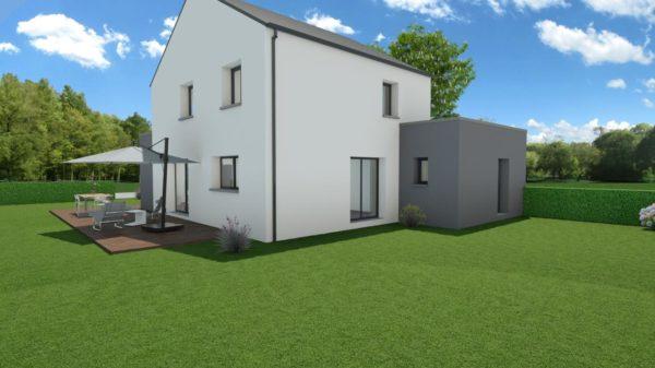 Modèle de Maison QUARTZ, 6 pièces de 136m² - Perspective Arrière en Ardoise