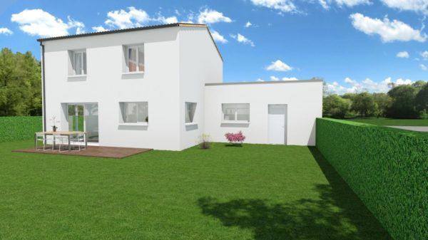Modèle de Maison PORPHYRE, 5 pièces de 106m² - Perspective Arrière en Tuile