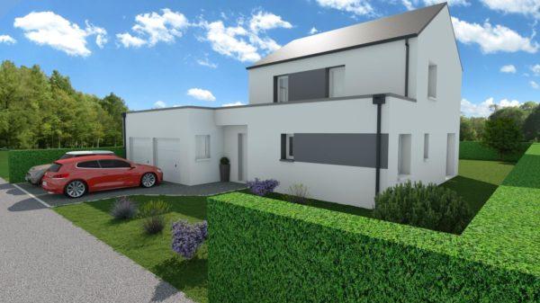 Modèle de Maison PORPHYRE, 5 pièces de 106m² - Perspective Avant en Ardoise