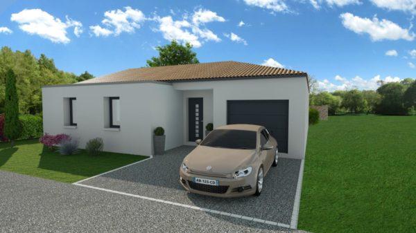 Modèle de Maison PERLE, 4 pièces de 112m² - Perspective Avant en Tuile