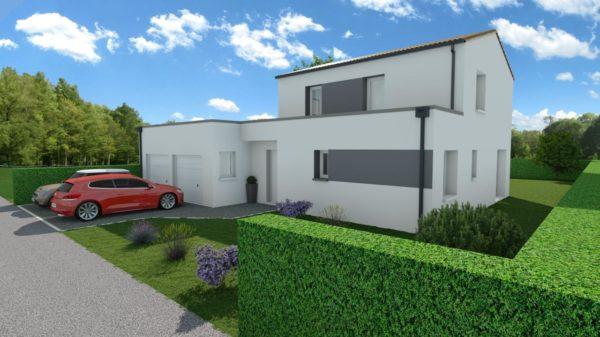 Modèle de Maison PORPHYRE, 5 pièces de 106m² - Perspective Avant en Tuile