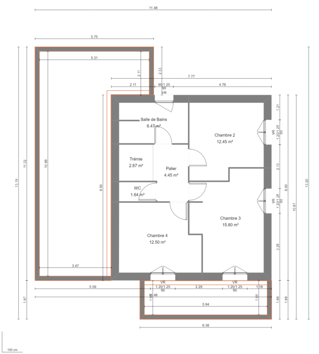 Modèle de Maison QUARTZ, 6 pièces de 136m² - Plan du R+1