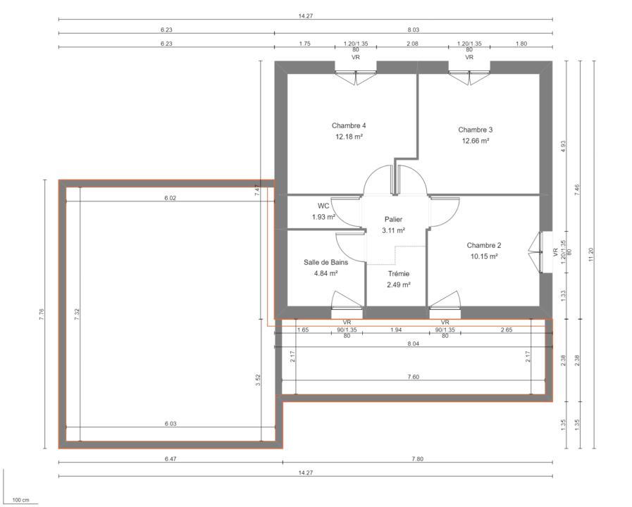 Modèle de Maison PORPHYRE, 5 pièces de 106m² - Plan du R+1