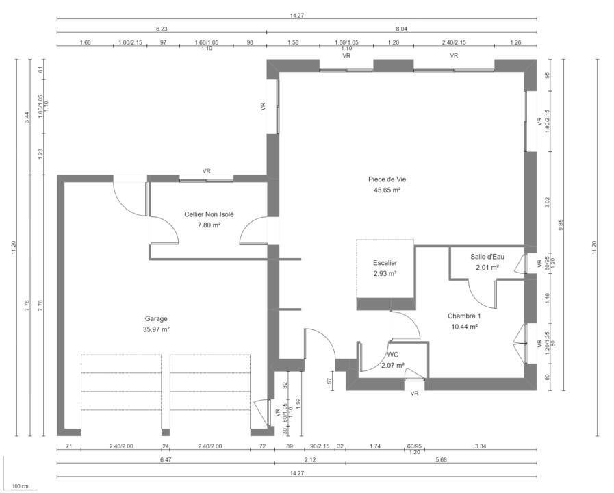 Modèle de Maison PORPHYRE, 5 pièces de 106m² - Plan du RdC
