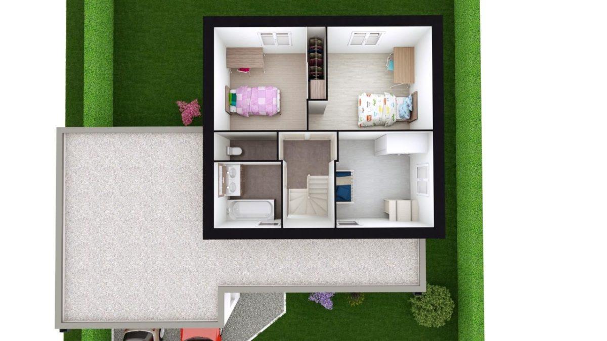 Modèle de Maison PORPHYRE, 5 pièces de 106m² - Proposition d'Aménagement du R+1