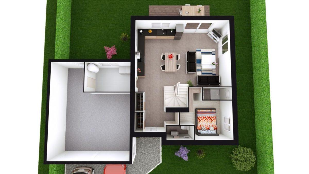 Modèle de Maison PORPHYRE, 5 pièces de 106m² - Proposition d'Aménagement du RdC