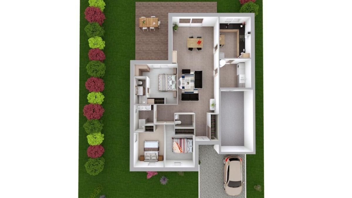 Modèle de Maison PERLE, 4 pièces de 112m² - Proposition d'Aménagement