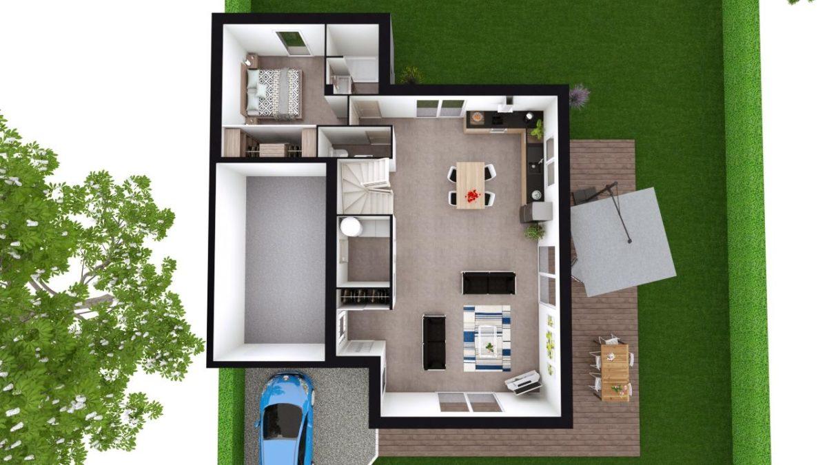 Modèle de Maison QUARTZ, 6 pièces de 136m² - Proposition d'Aménagement du RdC