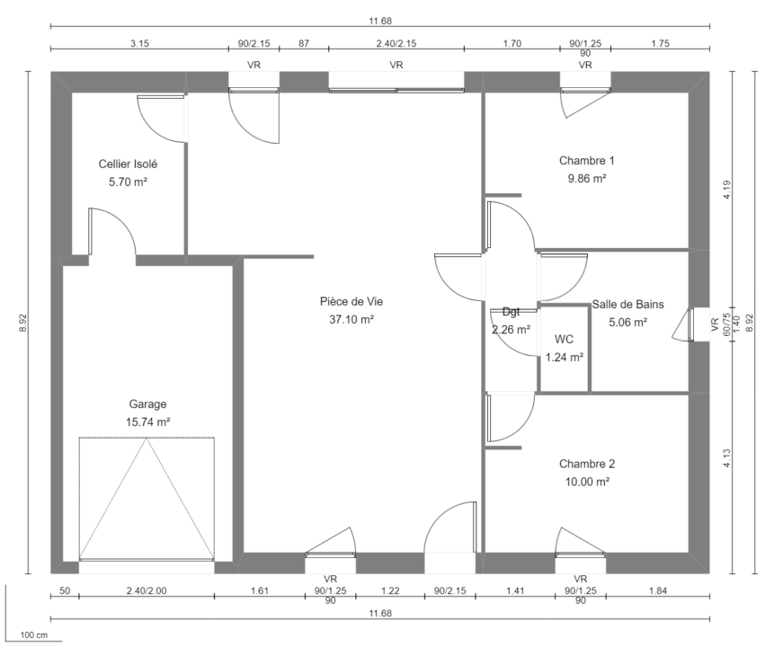 Modèle de Maison AUSTÉNITE, 3 pièces de 71,22m² - Plan du RdC