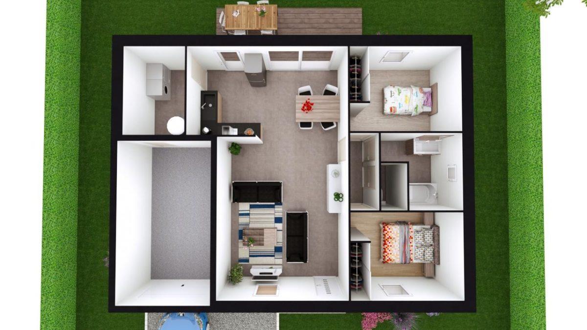 Modèle de Maison AUSTÉNITE, 3 pièces de 71,22m² - Proposition d'Aménagement