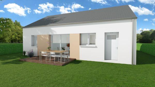 Modèle de Maison CRYOLITHE, 4 pièces de 80m² - Perspective Arrière en Ardoise