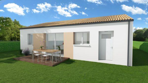 Modèle de Maison CRYOLITHE, 4 pièces de 80m² - Perspective Arrière en Tuile