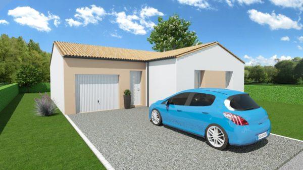 Modèle de Maison CRYOLITHE, 4 pièces de 80m² - Perspective Avant en Tuile
