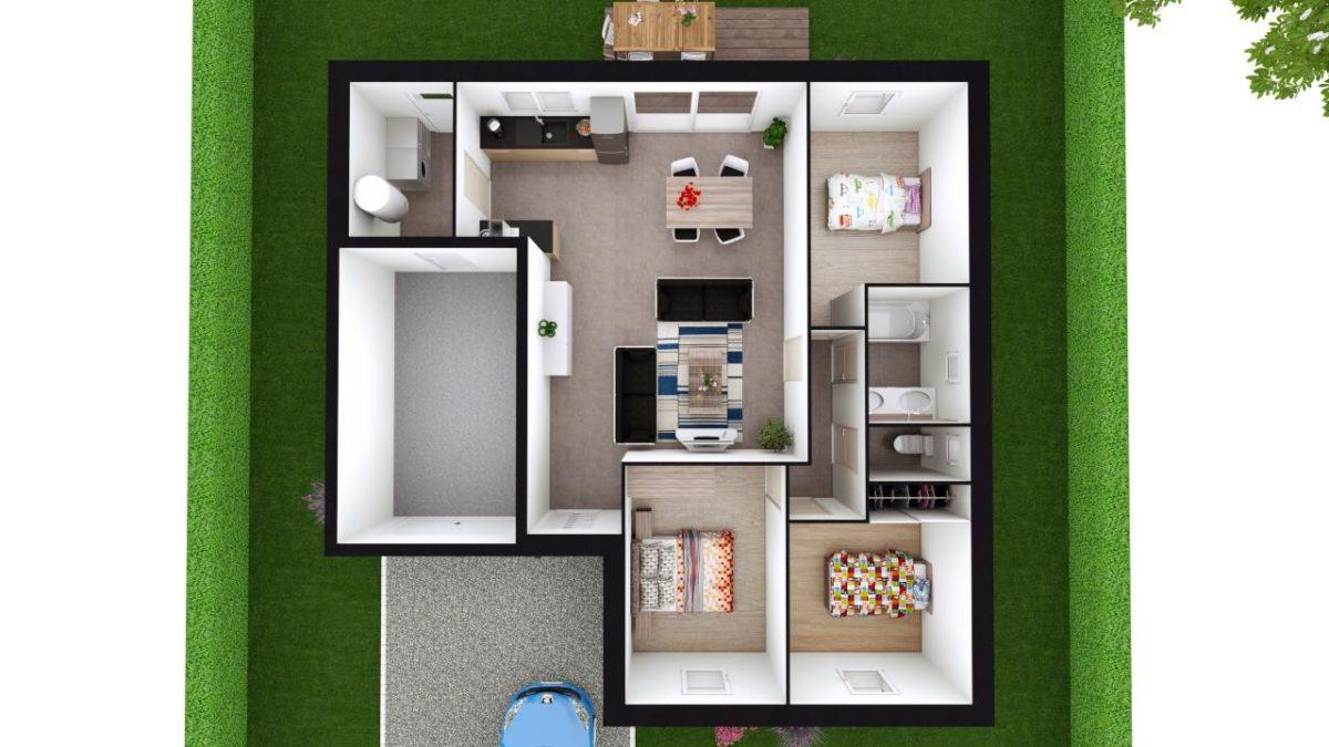 Modèle de Maison CRYOLITHE, 4 pièces de 80m² - Proposition d'Aménagement