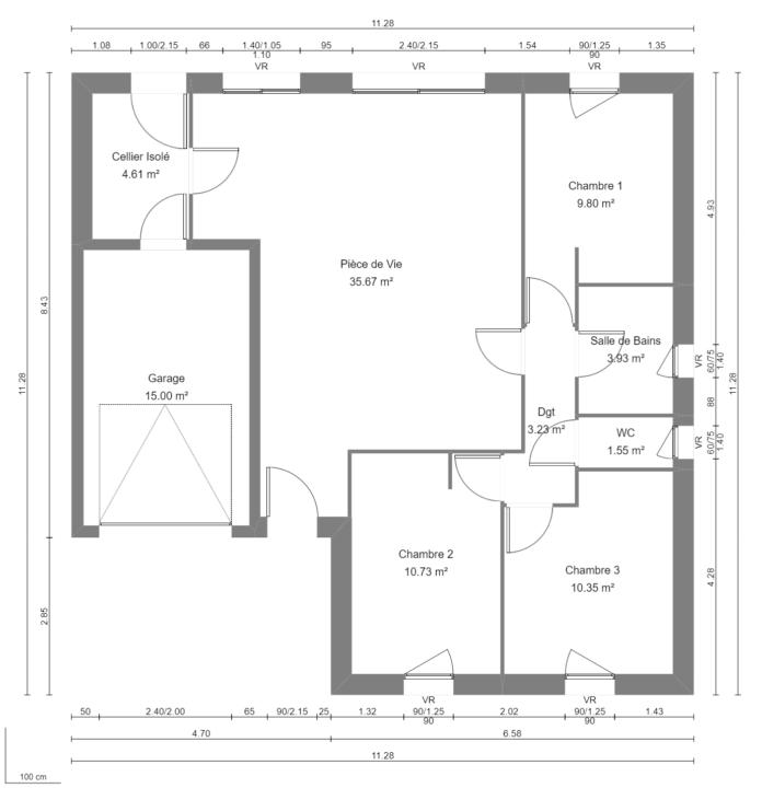 Modèle de Maison CRYOLITHE, 4 pièces de 80m² - RdC