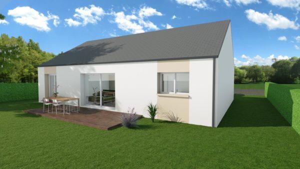 Modèle de Maison FELDSPATH, 5 pièces de 87m² - Perspective Arrière en Ardoise