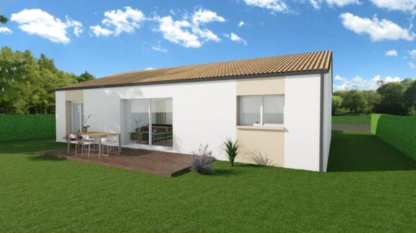 Modèle de Maison FELDSPATH, 5 pièces de 87m² - Perspective Arrière en Tuile