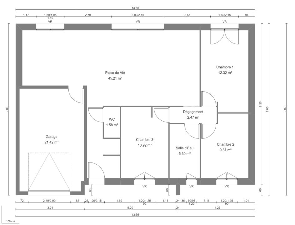 Modèle de Maison FELDSPATH, 5 pièces de 87m² - Plan du RdC