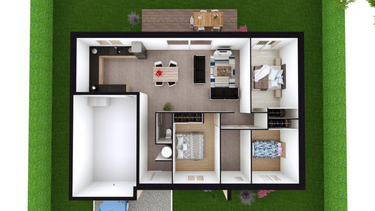 Modèle de Maison FELDSPATH, 5 pièces de 87m² - Proposition d'Aménagement