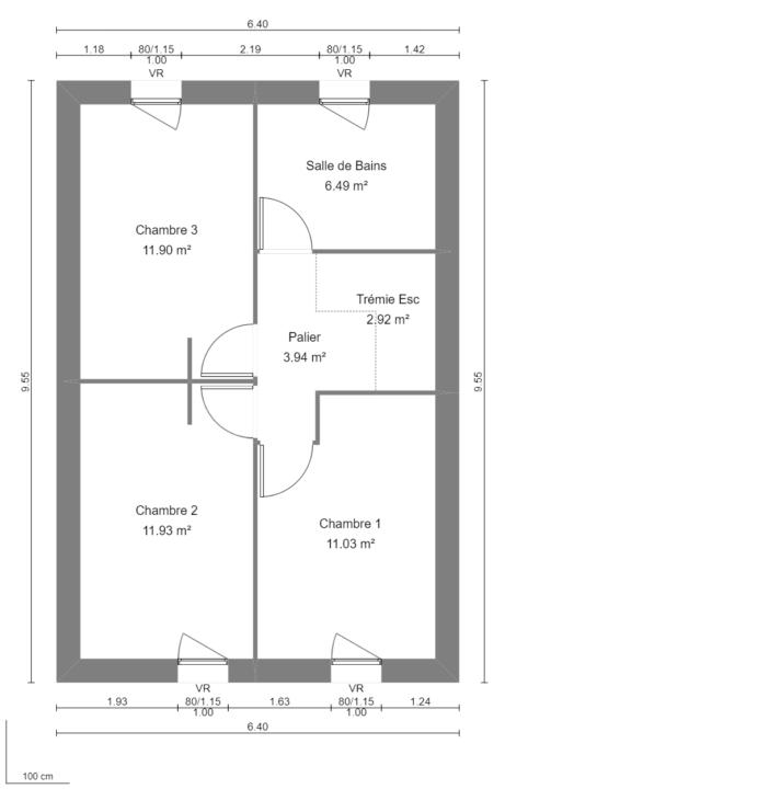 Modèle de Maison GYPSE, 4 pièces de 91m² - Plan du R+1