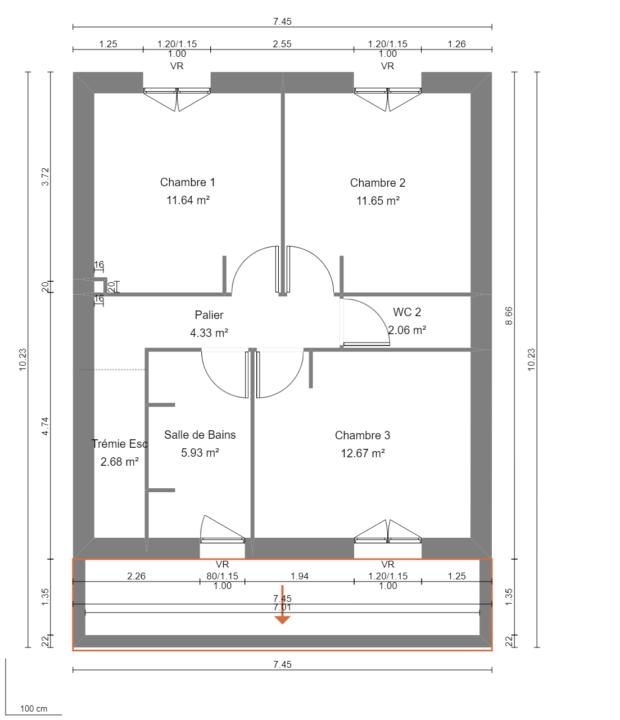 Modèle de Maison LOESS, 4 pièces de 93m² - Plan du R+1