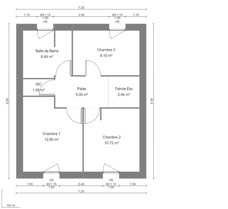 Modèle de Maison MAERL, 5 pièces de 93m² - Plan du R+1