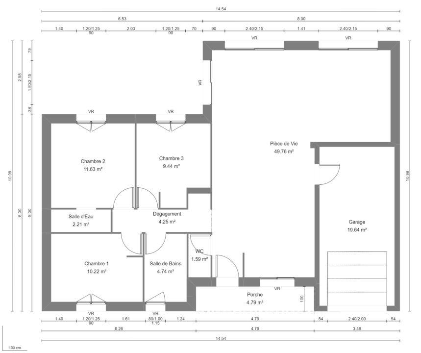 Modèle de Maison MAGNÉSITE, 5 pièces de 94m² - Plan du RdC