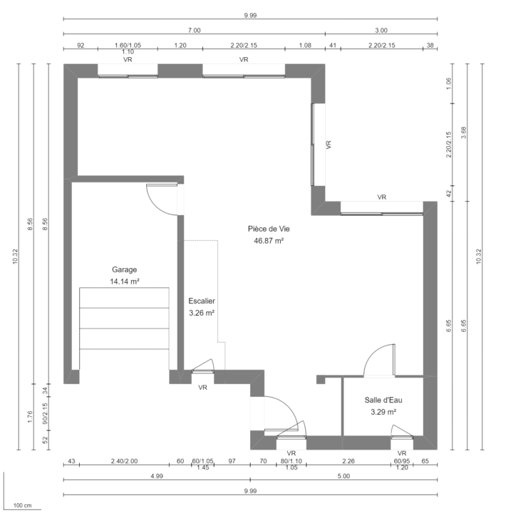 Modèle de Maison MANGANÈSE, 5 pièces de 96m² - Plan du RdC