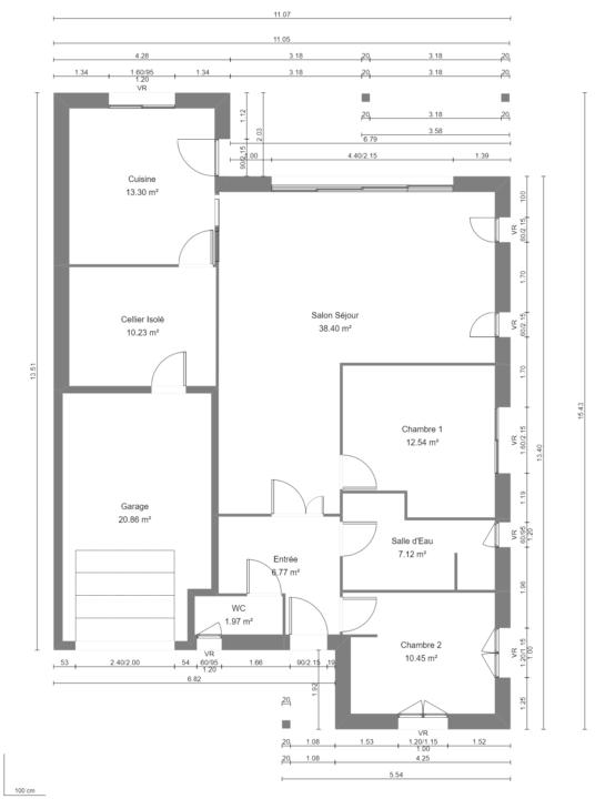 Modèle de Maison OXYLITHE, 4 pièces de 101m² - Plan du RdC