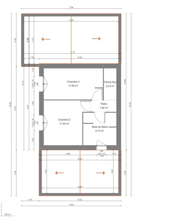 Modèle de Maison PHONOLITHE, 6 pièces de 112m² - Plan du R+1